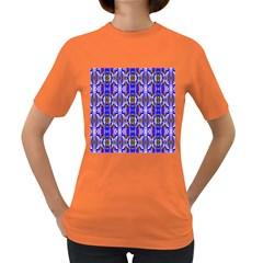 Blue White Abstract Flower Pattern Women s Dark T-Shirt by Costasonlineshop