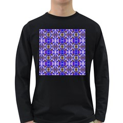Blue White Abstract Flower Pattern Long Sleeve Dark T Shirts