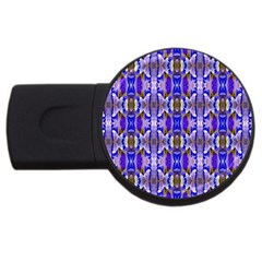 Blue White Abstract Flower Pattern Usb Flash Drive Round (4 Gb)  by Costasonlineshop