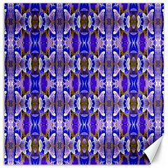 Blue White Abstract Flower Pattern Canvas 12  X 12