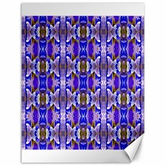 Blue White Abstract Flower Pattern Canvas 12  X 16