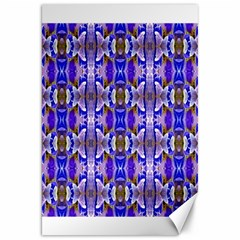 Blue White Abstract Flower Pattern Canvas 20  X 30