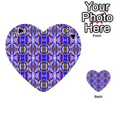 Blue White Abstract Flower Pattern Playing Cards 54 (heart)  by Costasonlineshop
