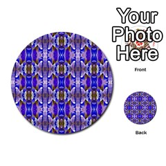 Blue White Abstract Flower Pattern Multi Purpose Cards (round)  by Costasonlineshop