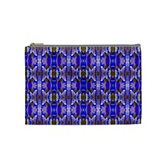 Blue White Abstract Flower Pattern Cosmetic Bag (medium)