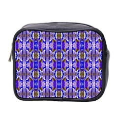 Blue White Abstract Flower Pattern Mini Toiletries Bag 2 Side by Costasonlineshop