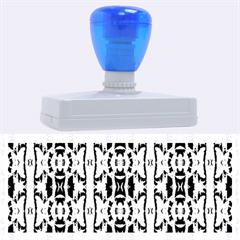 Blue White Abstract Flower Pattern Rubber Address Stamps (xl) by Costasonlineshop