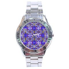 Blue White Abstract Flower Pattern Stainless Steel Men s Watch by Costasonlineshop