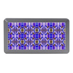 Blue White Abstract Flower Pattern Memory Card Reader (mini) by Costasonlineshop