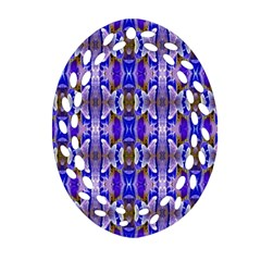 Blue White Abstract Flower Pattern Ornament (oval Filigree)
