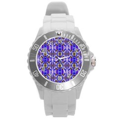 Blue White Abstract Flower Pattern Round Plastic Sport Watch (l) by Costasonlineshop