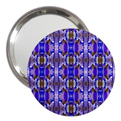 Blue White Abstract Flower Pattern 3  Handbag Mirrors by Costasonlineshop