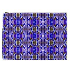 Blue White Abstract Flower Pattern Cosmetic Bag (xxl)  by Costasonlineshop