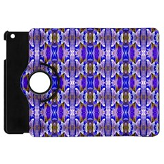 Blue White Abstract Flower Pattern Apple Ipad Mini Flip 360 Case