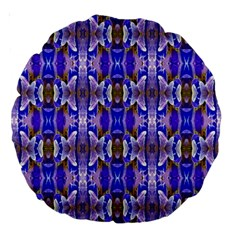 Blue White Abstract Flower Pattern Large 18  Premium Round Cushions by Costasonlineshop