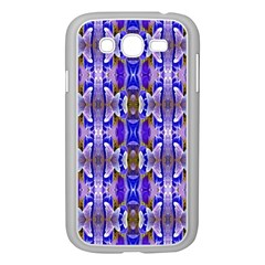 Blue White Abstract Flower Pattern Samsung Galaxy Grand Duos I9082 Case (white)