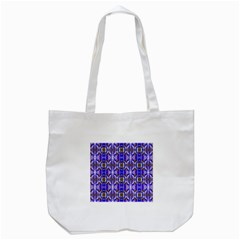 Blue White Abstract Flower Pattern Tote Bag (white)  by Costasonlineshop