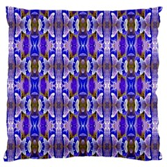 Blue White Abstract Flower Pattern Standard Flano Cushion Cases (one Side)