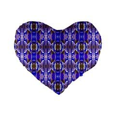Blue White Abstract Flower Pattern Standard 16  Premium Flano Heart Shape Cushions by Costasonlineshop