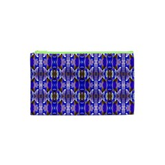 Blue White Abstract Flower Pattern Cosmetic Bag (xs)