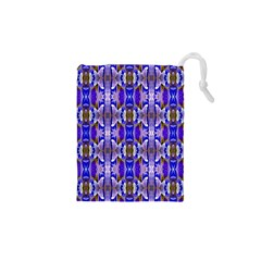 Blue White Abstract Flower Pattern Drawstring Pouches (xs)  by Costasonlineshop