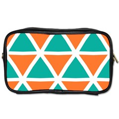 Orange Green Triangles Pattern Toiletries Bag (two Sides) by LalyLauraFLM