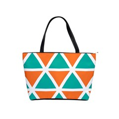 Orange Green Triangles Pattern Classic Shoulder Handbag by LalyLauraFLM