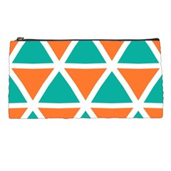 Orange Green Triangles Pattern 	pencil Case by LalyLauraFLM