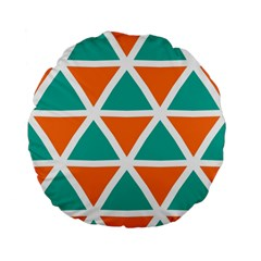 Orange Green Triangles Pattern 	standard 15  Premium Flano Round Cushion by LalyLauraFLM