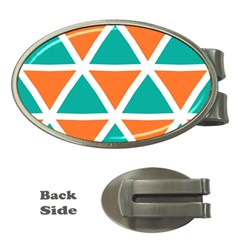 Orange Green Triangles Pattern 			money Clip (oval) by LalyLauraFLM