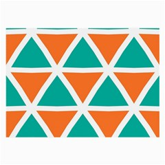 Orange Green Triangles Pattern 			large Glasses Cloth by LalyLauraFLM