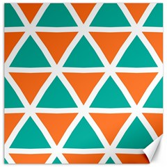 Orange Green Triangles Pattern 			canvas 12  X 12  by LalyLauraFLM