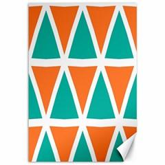 Orange Green Triangles Pattern canvas 12  X 18  by LalyLauraFLM