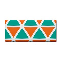 Orange Green Triangles Pattern hand Towel by LalyLauraFLM