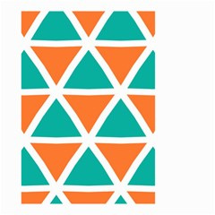 Orange Green Triangles Pattern Small Garden Flag by LalyLauraFLM