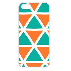 Orange Green Triangles Pattern 			apple Iphone 5 Seamless Case (white) by LalyLauraFLM