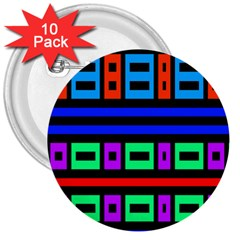 Rectangles and stripes 3  Button (10 pack) by LalyLauraFLM