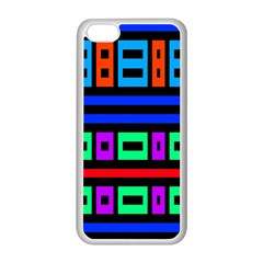 Rectangles And Stripes apple Iphone 5c Seamless Case (white) by LalyLauraFLM