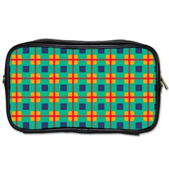 Squares In Retro Colors Pattern Toiletries Bag (two Sides) by LalyLauraFLM