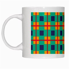 Squares In Retro Colors Pattern White Mug by LalyLauraFLM