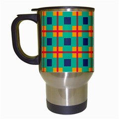 Squares In Retro Colors Pattern Travel Mug (white) by LalyLauraFLM