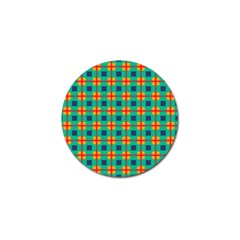 Squares In Retro Colors Pattern 			golf Ball Marker (4 Pack) by LalyLauraFLM