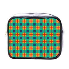 Squares In Retro Colors Pattern 			mini Toiletries Bag (one Side) by LalyLauraFLM