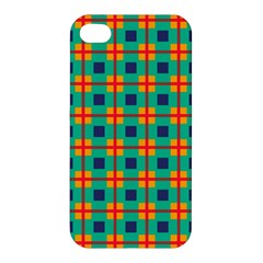 Squares In Retro Colors Pattern 			apple Iphone 4/4s Premium Hardshell Case by LalyLauraFLM