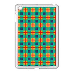 Squares In Retro Colors Pattern apple Ipad Mini Case (white) by LalyLauraFLM