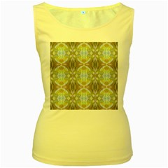 Beautiful White Yellow Rose Pattern Women s Yellow Tank Tops by Costasonlineshop