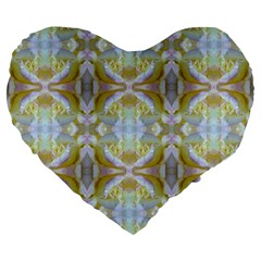 Beautiful White Yellow Rose Pattern Large 19  Premium Heart Shape Cushions by Costasonlineshop