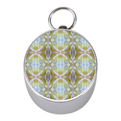 Beautiful White Yellow Rose Pattern Mini Silver Compasses