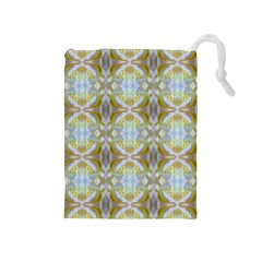 Beautiful White Yellow Rose Pattern Drawstring Pouches (medium)  by Costasonlineshop