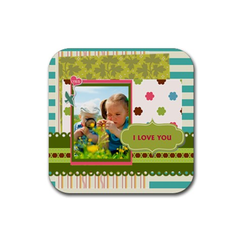 Kids By Kids   Rubber Square Coaster (4 Pack)   Mcq8hpwrckd7   Www Artscow Com Front